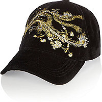 Black floral embroidered cap