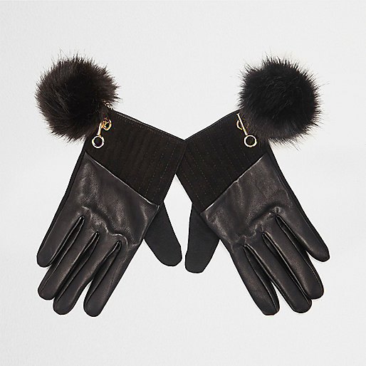 Black leather pom pom gloves