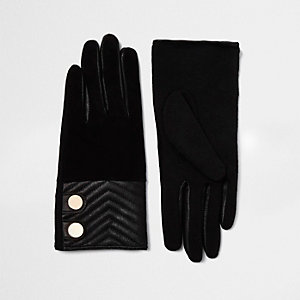 Black quilted suede gloves