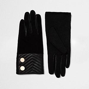 Zwarte suède handschoenen met doorstiksel