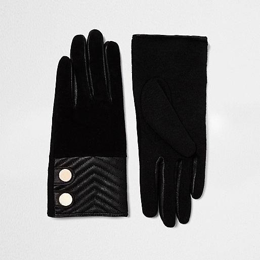 Schwarze gesteppte Wildlederhandschuhe