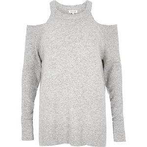 Grey knit cold shoulder sweater