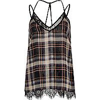 Black checked lace cami top