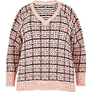 Plus pink checked cold shoulder jumper