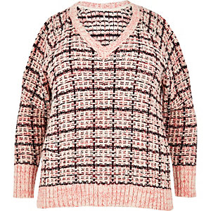 Plus pink checked cold shoulder sweater