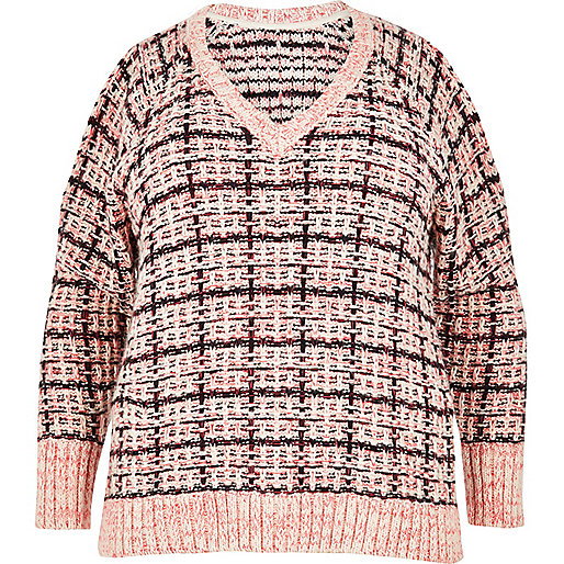 Plus pink checked cold shoulder jumper