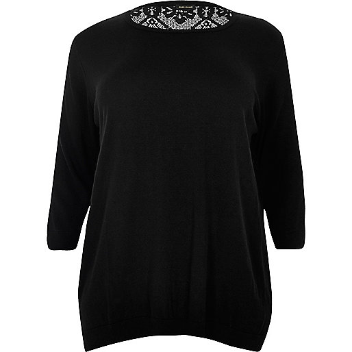 Plus black lace back top