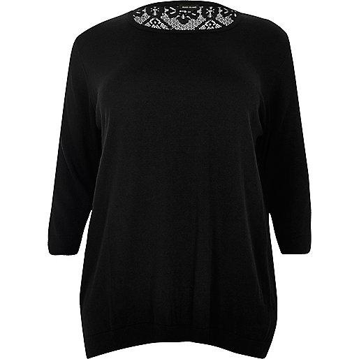 Plus black lace back top