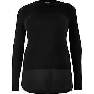 Plus black double layer shirt jumper