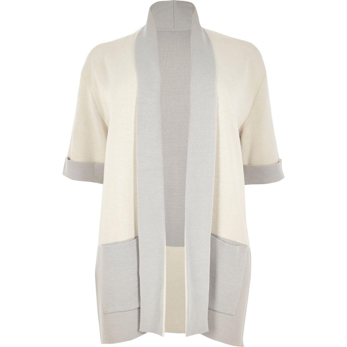 Plus cream colour block cardigan