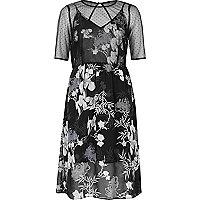 Black floral chiffon midi dress