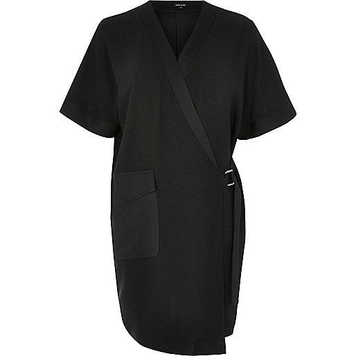 Black tux shirt dress