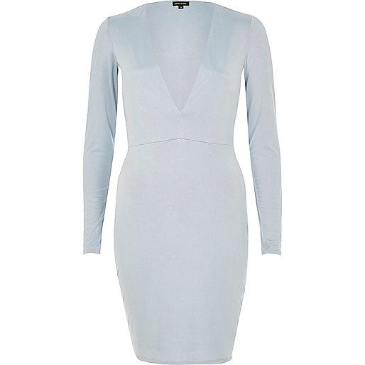 Light blue plunge dress