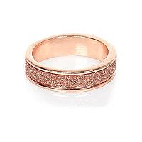 Rose gold tone glitter ring