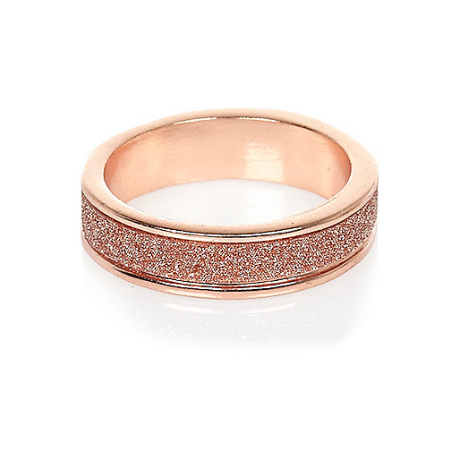 Rose gold tone glitter ring