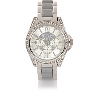 Silver tone chunky embellished watch