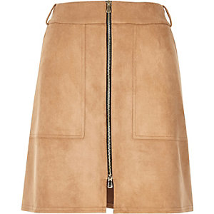 Beige faux suede zip-up a-line skirt