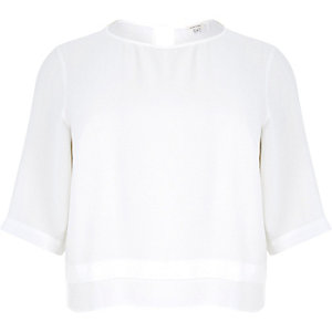 Plus white soft woven top