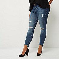 Plus – Amelie – Blaue Superskinny-Jeans im Used-Look