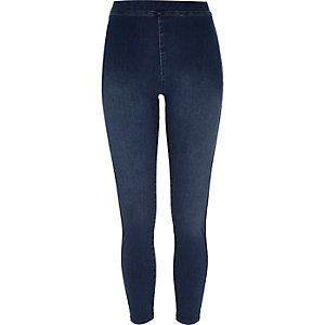 Mid blue denim-look high rise leggings