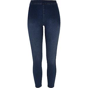 Middenblauwe legging met denimlook en hoge taille