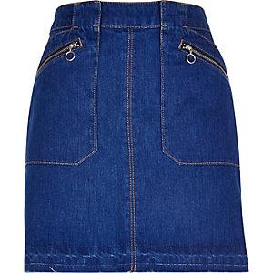 Bright blue zip denim skirt