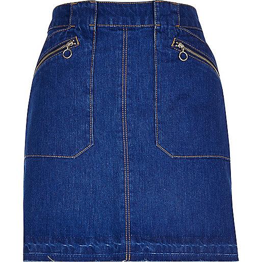 Jupe en jean bleu vif zippée