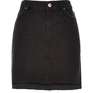 Black A-line denim skirt