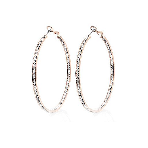 Rose gold tone rhinestone hoop earrings