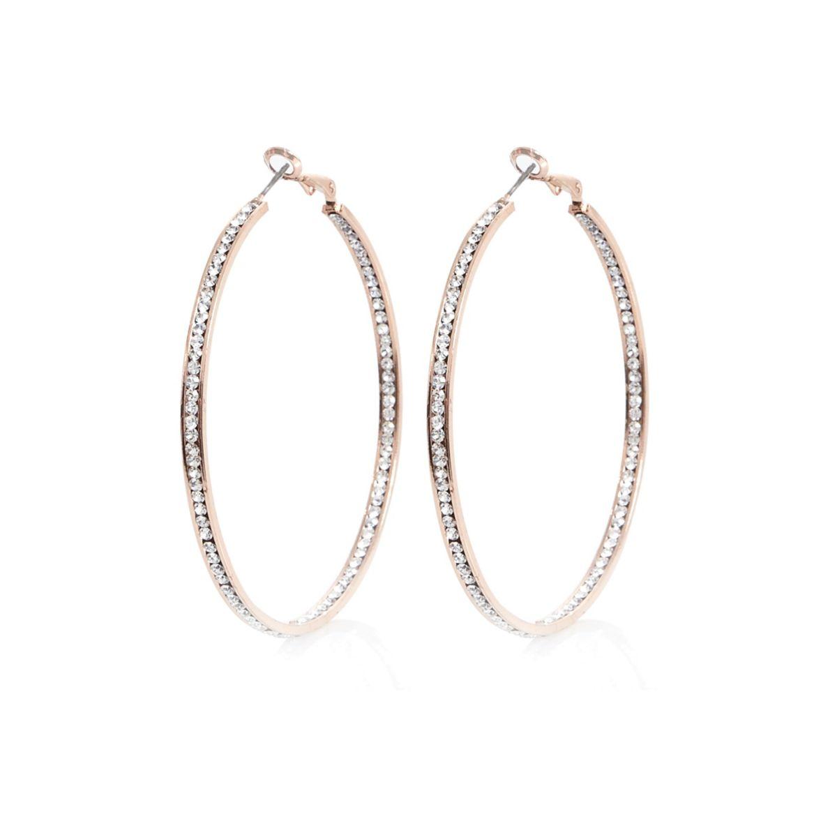 Rose gold tone rhinestone hoop earrings