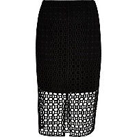 Black circle lace pencil skirt
