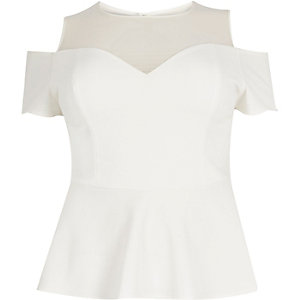 RI Plus cream mesh cold shoulder peplum top