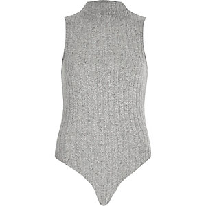Grey soft ribbed turtleneck bodysuit