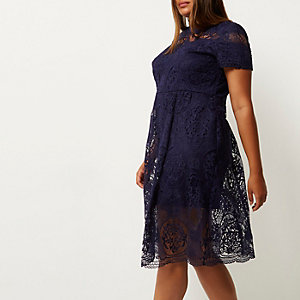 Plus navy lace midi dress