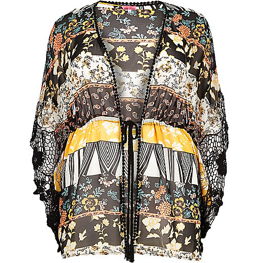 Plus black printed drawstring kimono