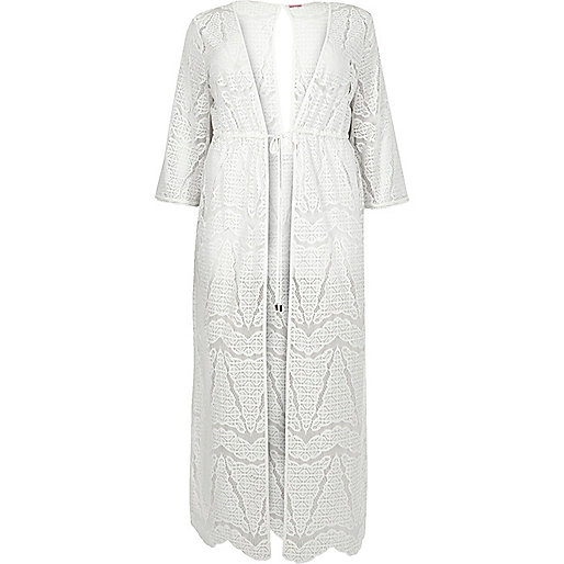 Plus white lace maxi cover-up