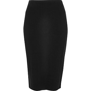 Black ponte jersey pencil skirt