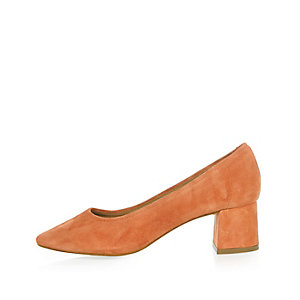 Orange suede block heel glove shoes