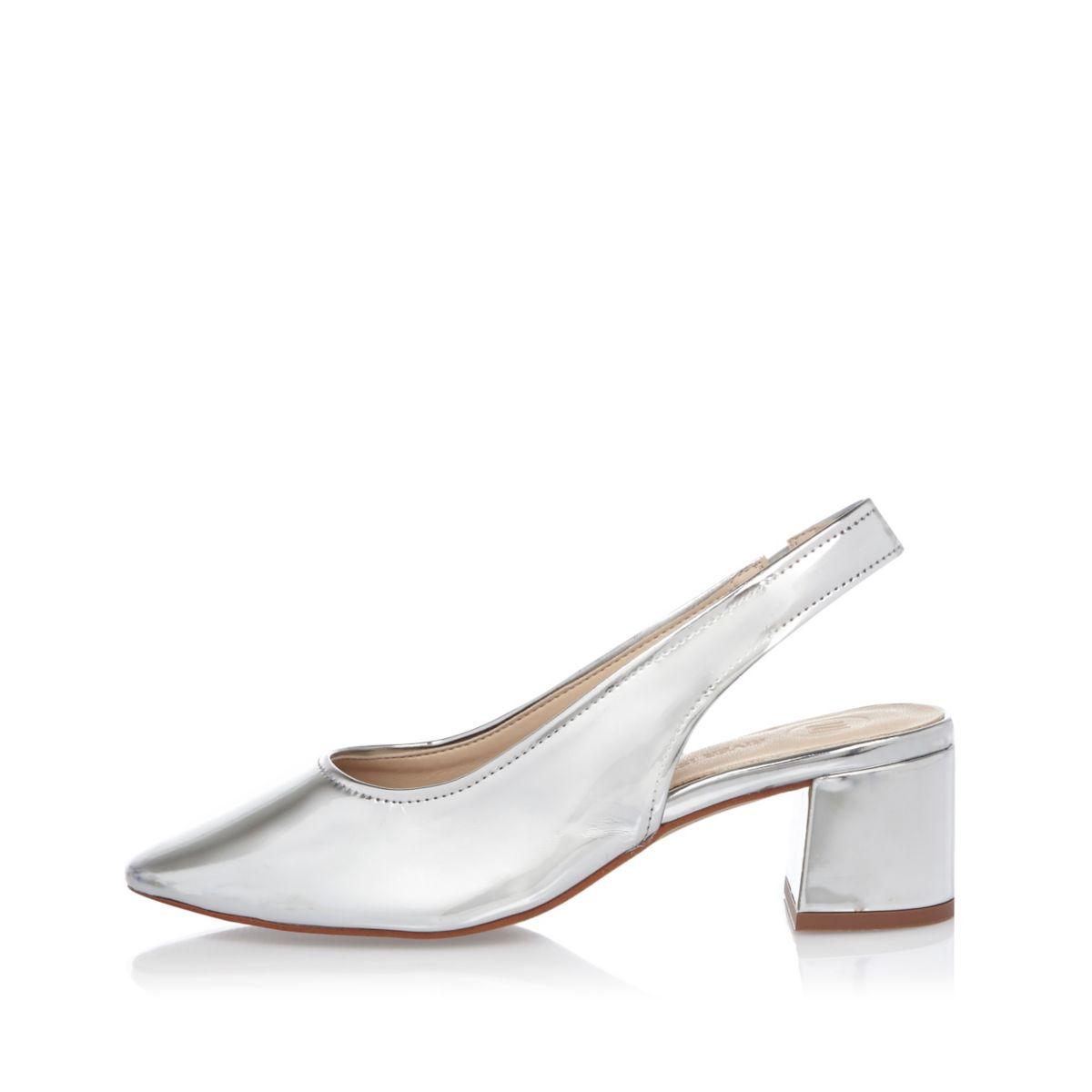 Silver leather slingback pumps