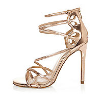 Rose gold tone wide fit strappy heels