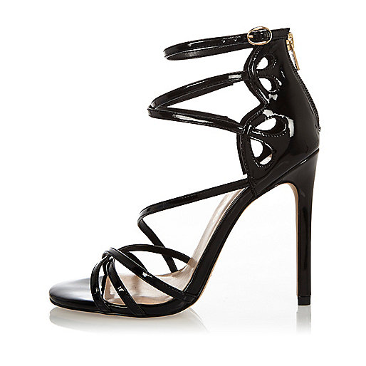 Black patent wide fit strappy heels