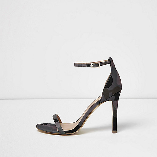 Khaki camo barely there heeled sandals