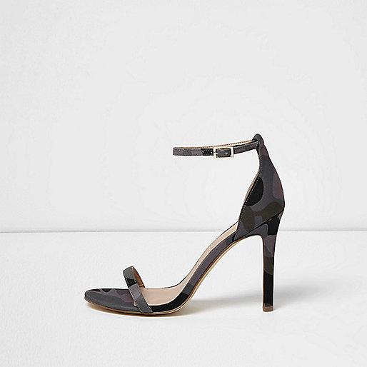 Sandales minimalistes camouflage kaki à talons