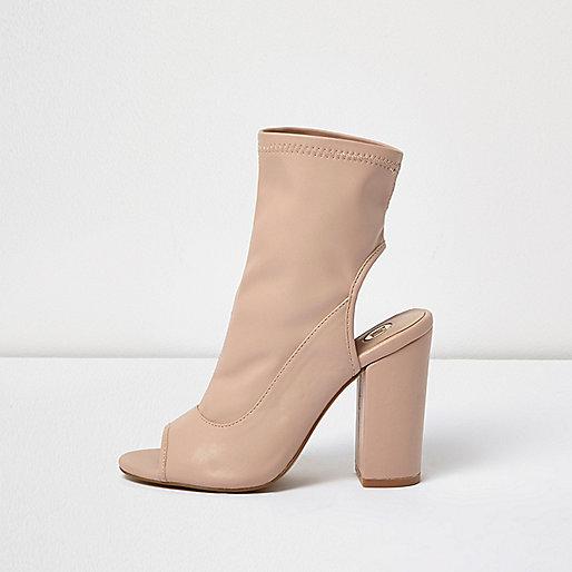 Light pink peeptoe block heel shoe boots