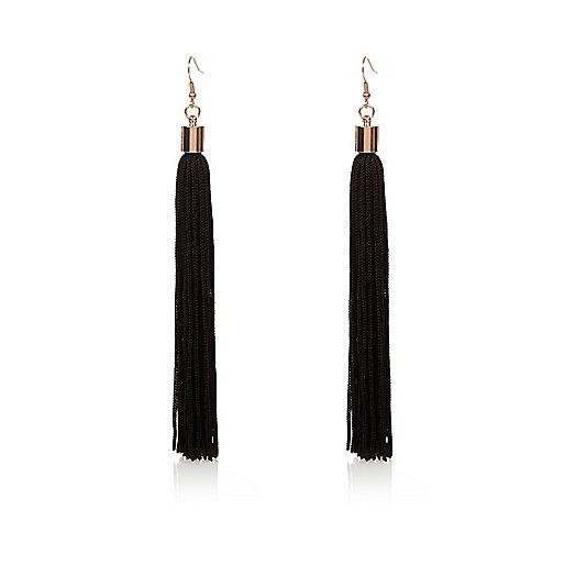 Black drop tassel earrings