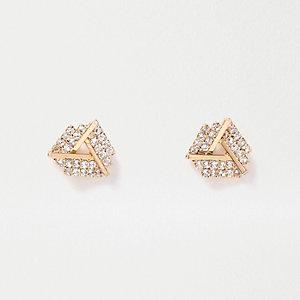 Gold tone gem encrusted twist stud earrings