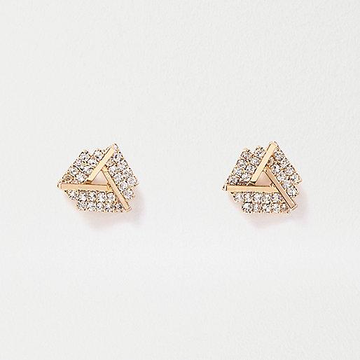 Clous d'oreilles dorés torsadés ornés de pierres fantaisie