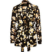 Black floral print belted jacket
