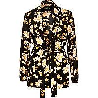 Schwarze Jacke mit Gürtel und Blumenmuster