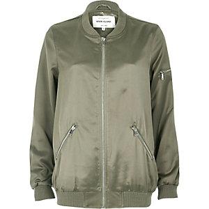 Light green satin longline bomber jacket